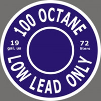 19 Gallon 100 Octane Low Lead Only 72 Litres Fuel Placard Logo